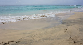 Tropical beach scene. Tropical beach in sal island on cabo verde Stock Images