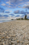 Tropical beach scene at sunset, cuba. A view of tropical beach at sunset with stones and seashells in the sand Stock Images