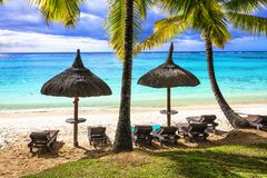Tropical beach scenery. Relaxin holidays in Mauritius island royalty free stock photography