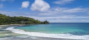 Tropical beach with sea and palm taken from drone. Beach and sea photo. Romantic beach aerial view.  royalty free stock photos