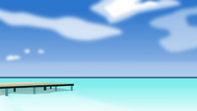 Tropical beach a sea. With a pontoon for people Royalty Free Stock Photos