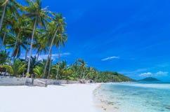 Tropical beach with sea on the sand and palm trees, sa-mui islan Stock Photos