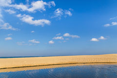 Tropical beach and sea with white cloud and blue sky background Royalty Free Stock Photos