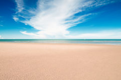 Tropical beach and sea. Tropical beach with white sand, fresh turquoise sea, deep blue sky and white clouds in Pranburi, Thailand stock image
