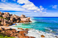 Tropical beach at Seychelles Royalty Free Stock Photo