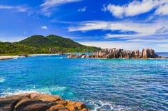 Tropical beach at Seychelles Stock Photos