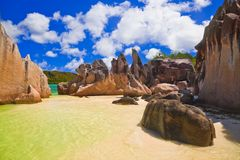 Tropical beach at Seychelles Stock Image