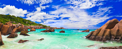 Tropical beach at Seychelles Royalty Free Stock Images