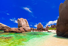 Tropical beach at Seychelles Royalty Free Stock Photography