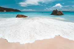 Tropical Beach in Seychelles royalty free stock photos