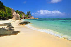 Tropical beach on Seychelles island Royalty Free Stock Photos