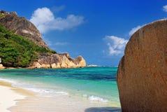 Tropical beach on Seychelles island Stock Photos