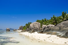 Tropical beach, Seychelles islands, La Digue Royalty Free Stock Images