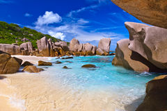 Tropical beach at Seychelles. Nature background Stock Photo