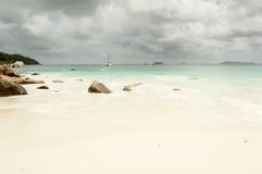 Tropical beach at Seychelles - nature background. Anse Lazio beach, Praslin Island, Seychelles. Cloudy day Royalty Free Stock Photos