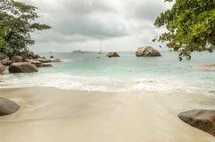 Tropical beach at Seychelles - nature background. Anse Lazio beach, Praslin Island, Seychelles. Cloudy day Stock Photo
