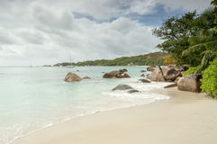 Tropical beach at Seychelles - nature background. Anse Lazio beach, Praslin Island, Seychelles. Cloudy day Royalty Free Stock Photography