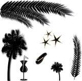 Tropical beach silhouettes Royalty Free Stock Photos