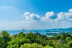Tropical beach skyline at Karon view point in Phuket, Thailand. Holiday vacations concept stock photos