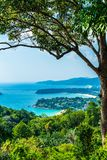 Tropical beach skyline at Karon view point in Phuket, Thailand. Holiday vacations concept stock photo
