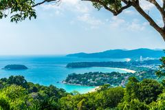Tropical beach skyline at Karon view point in Phuket, Thailand. Holiday vacations concept stock image