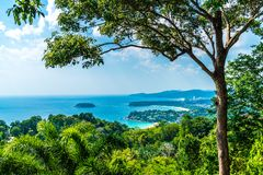 Tropical beach skyline at Karon view point in Phuket, Thailand. Holiday vacations concept royalty free stock photos