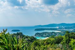 Tropical beach skyline at Karon view point in Phuket, Thailand. Holiday vacations concept royalty free stock photo