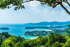 Tropical beach skyline at Karon view point in Phuket, Thailand. Holiday vacations concept stock photography