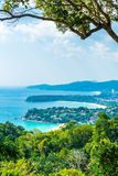 Tropical beach skyline at Karon view point in Phuket, Thailand. Holiday vacations concept royalty free stock images