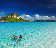 Tropical beach, snorkeling. Tropical beach, Andaman Sea, Thailand Royalty Free Stock Images