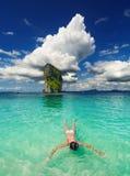Tropical beach, snorkeling Stock Photos