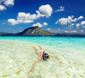 Tropical beach, snorkeling Royalty Free Stock Photos
