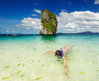 Tropical beach, snorkeling Royalty Free Stock Photography