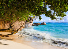 Tropical beach Source D'Argent at Seychelles Royalty Free Stock Photography