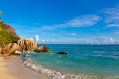Tropical beach Source D'Argent at Seychelles Royalty Free Stock Photo