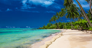 Tropical beach on south side of Upolu, Samoa Island with palm tr. Tropical beach on south side of Upolu, Samoa Island with many palm trees Stock Images