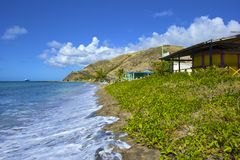 Tropical beach in St Kitts, Caribbean Stock Images