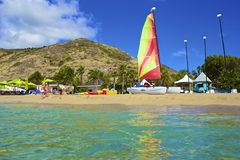 Tropical beach in St Kitts, Caribbean Royalty Free Stock Image