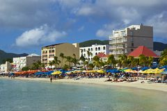 Tropical beach in St Maarten, Caribbean Stock Image