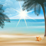 Tropical beach with Starfish design template. Stock Photo