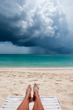 Tropical Beach in the storm Royalty Free Stock Image