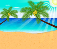 Tropical beach summer with with Palm Trees Stock Photo