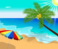 Tropical beach summer with with Palm Trees Royalty Free Stock Photography