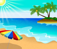 Tropical beach summer with with Palm Trees Stock Photos