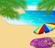 Tropical beach summer with with Palm Trees Royalty Free Stock Photos