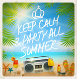 Tropical beach summer party vector illustration