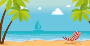 Tropical beach summer scene. Vector illustration design royalty free illustration