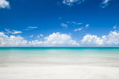 Tropical beach at summer sunny day. Tropical sandy beach at summer sunny day stock photo