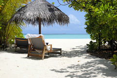 Tropical beach with sun chairs Stock Image