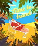 Tropical beach, sun, summer, santa claus, holiday, time to travel. Vector illustration Stock Photo